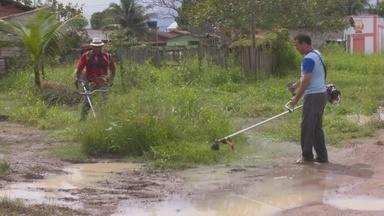 Cansados de esperar, moradores do Parque dos Buritis, fazem mutirão de limpeza no bairro - Previsão é de dois meses para a conclusão dos serviços de limpeza.