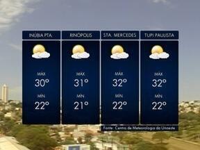 Meteorologia prevê tempo firme para o Oeste Paulista - Veja as previsões para algumas cidades.