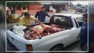 Em Parintins, no AM, mais de meia tonelada de carne é apreendida - Carne estava imprópria para o consumo foi apreendida durante uma fiscalização.