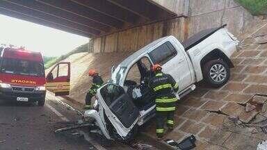 Homem morre após cair com a caminhonete em viaduto em Taquaritinga, SP - Motorista seguia na Rodovia Washington Luiz quando perdeu o controle do veículo e caiu.
