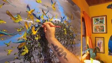 O artista do Parque do Itatiaia - PO pintor Christian Spencer se inspira nas belezas do Itatiaia.