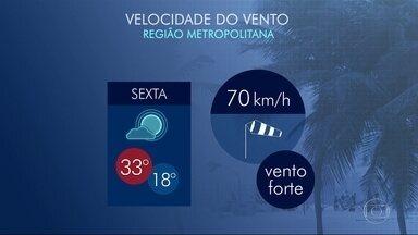 Previsão de tempo bom para o Rio nesta sexta-feira (21) - O dia segue com tempo firme. A temperatura máxima prevista para a Região Metropolitana é de 33ºC.