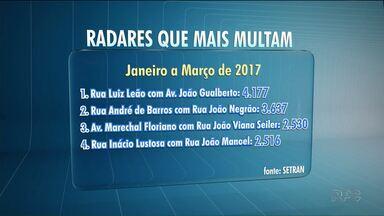 Maioria dos radares campeões de multas em Curitiba fica na área central - Na região, funciona a chamada Área Calma e a velocidade máxima permitida é de 40km/h.