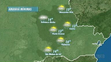 Tempo continua chuvoso neste sábado (20) em Ponta Grossa - Previsão é de temperatura mínima de 13° para a cidade.
