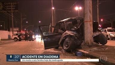 Uma pessoa morre e seis ficam feridas em grave acidente em Diadema - Uma pessoa morre e seis ficam feridas em grave acidente em Diadema.