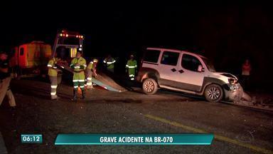 Homem fica ferido em acidente na BR 070 - Homem fica ferido em acidente na BR 070.