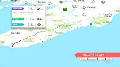 Veja os pontos de lentidão no trânsito pelo Mapa da Velocidade - Para conferir ao vivo acesse g1.com.br/bahia/mapadavelocidade.