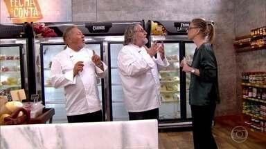 'Fecha a Conta Massas': jurados visitam o mercado - A chef Ana Lucia Aleixo é a jurada convidada da segunda prova e vai avaliar os pratos dos competidores com Roberto Ravioli e Luciano Boseggia