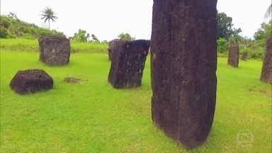Monólitos em ilha da Micronésia são mistério que fascina - Pedras gigantes foram levadas para a região para construção de uma casa de reunião de líderes, que nunca foi concluída. Isso há mais de 2 mil anos.