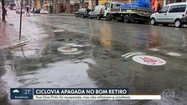 Ciclovia no Bom Retiro é apagada após recapeamento de asfalto em rua - Trecho de faixa exclusiva para ciclistas na Rua Silva Pinto está sem marcação.