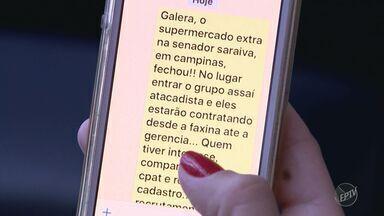 Especialista alerta sobre crescimento de informações falsas na internet - Em Campinas (SP) oferta falsa de emprego gerou filas e trouxe transtornos para o CPAT.
