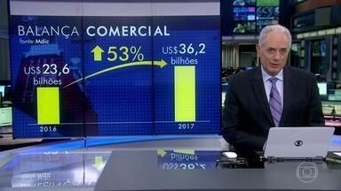 Balança comercial brasileira registra maior saldo positivo em 29 anos no primeiro semestre - Segundo o Ministério do Desenvolvimento, o Brasil exportou US$ 36 bilhões a mais do que importou. O valor é 53% maior do que o primeiro semestre do ano passado.