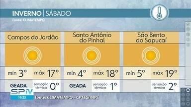 Confira a previsão do tempo para o sábado (8) em São Paulo - Tempo aberto em todo o estado. O dia será bem frio na Mantiqueira. Tem previsão de geada em Campos do Jordão e em Santo Antônio do Pinhal.