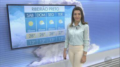 Veja a previsão do tempo para este sábado (15) na região de Ribeirão Preto - O dia começa com a temperatura na casa dos 13°C, mas faz calor à tarde.