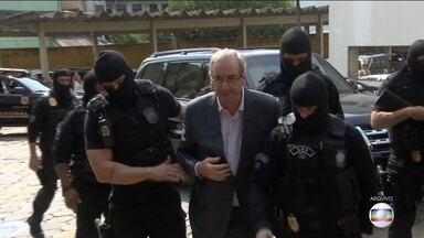 Eduardo Cunha se manteve calado em depoimento em Curitiba - A audiência foi parte da Operação Cui Bono, que investiga fraudes na liberação de empréstimos pelo fundo de investimentos da Caixa em troca de propina.