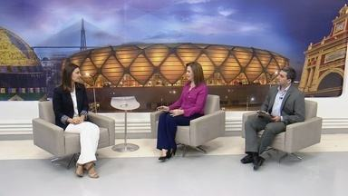 Candidata Rebecca Garcia participa de entrevista no Amazonas TV - Candidato do governo do Amazonas respondeu perguntas de jornalistas