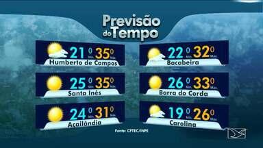 Veja a variação das temperaturas no Maranhão - Previsão para esta quarta-feira (2) será de muito sol em grande parte do estado.