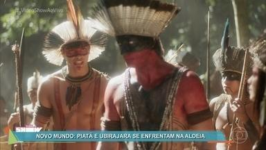 Piatã e Ubirajara se enfrentam na aldeia - O irmão de Anna fere a honra do cacique e tem que enfrentar o índio em um duelo na novela 'Novo Mundo'