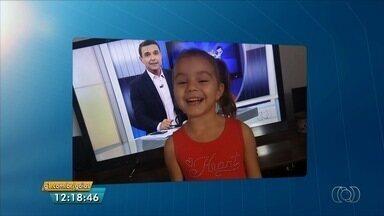 Menina Jordana esbanja simpatia e anuncia intervalo do JA 1ª Edição - Vídeo foi enviado pelo aplicativo Quero Ver na TV (QVT).