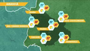 Sexta-feira vai ser de calor e tempo seco no oeste do estado - Previsão de 32 graus para Cascavel.