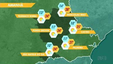 Sábado sem previsão de chuva para os Campos Gerais - Máxima chega aos 28 graus na região.