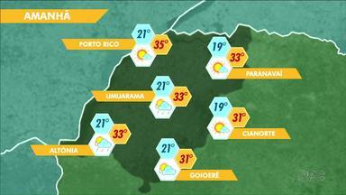 Tempo começa a mudar na noite deste sábado em cidades do Noroeste - Em Umuarama e Altônia, pode chover já na noite deste sábado, 12. Restante da região deve ter chuva no domingo.