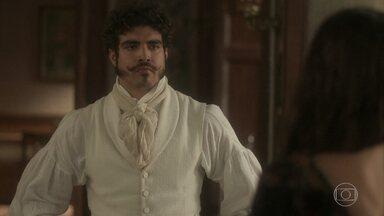 Dom Pedro escuta confissão de Domitila - O príncipe aparece e Domitila entra em pânico