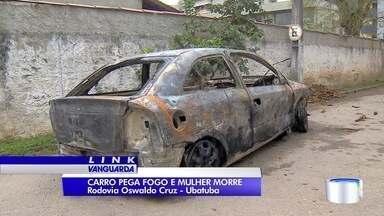 Mulher morre e homem e bebê ficam feridos após carro pegar fogo na serra de Ubatuba - Vítimas foram socorridas ao hospital em Ubatuba.