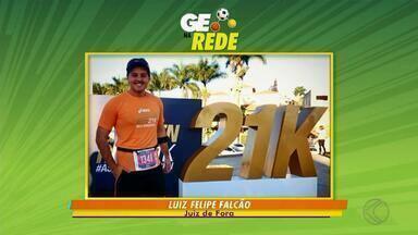 GE na Rede tem repórter da TV Integração e time de escolinha de futsal - Repórter Luiz Felipe Falcão corre meia-maratona em Belo Horizonte. Garotada do futsal treina no Bairro Santa Luzia. Corredor Mateus Andrade envia foto com amigos na Corrida Mulher Maravilha, no Rio.