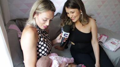 Repórter Fernanda Pinheiro visita Priscilla Bitencourt e conhece Luiza, sua primeira filha - Confira!