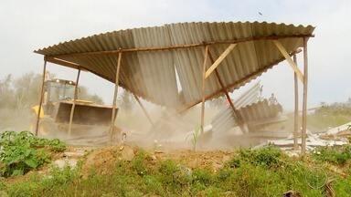 Construção irregular, dentro de área de preservação, é demolida em São Pedro da Aldeia, RJ - Assista a seguir.
