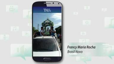 Tô Na Rede: fotos mostram procissão de Nossa Senhora de Nazaré na Zona Norte de Macapá - Imagens foram registradas pela internauta Francy Maria Rocha. A passagem da imagem pelo bairro aconteceu no domingo (10).