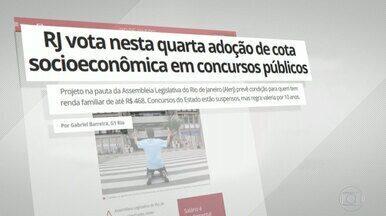 G1 no Bom Dia Rio: RJ vota nesta quarta adoção de cota socioeconômica em concursos - Projeto na pauta da Alerj prevê condição para quem tem renda per capita familiar de até R$ 468. Concursos do Estado estão suspensos, mas regra valeria por 10 anos.
