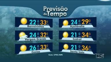Veja as variações das temperaturas no Maranhão - Previsão será de dia de sol entre nuvens no norte e no litoral do Maranhão.