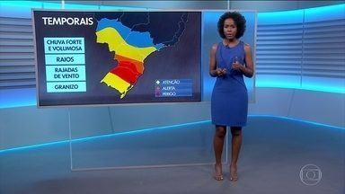 Veja a previsão do tempo para esta sexta-feira (13) em todo o Brasil - A previsão é de chuva com raios e granizo para Santa Catarina e Rio Grande do Sul.