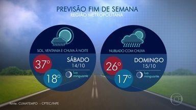 Veja como fica o tempo no Rio de Janeiro neste sábado (14) - O tempo deve mudar no Rio. Ventos de 58 km/h foram registradosno Forte de Copacabana pela manhã. A temperatura máxima prevista é de 37ºC. A chuva deve chegar à noite.