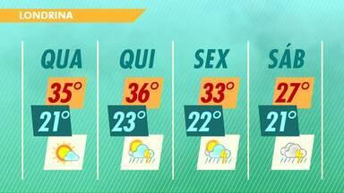 A quarta-feira deve ser mais um dia ensolarado em Londrina - Mas o tempo pode mudar a partir de quinta-feira.