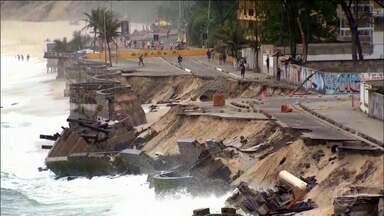 Praia da Macumba no RJ é engolida pelo mar e MPF busca soluções de emergência - Mar já destruiu o calçadão, a ciclovia e agora ameaça as construções na orla do Recreio dos Bandeirantes, na Zona Oeste.