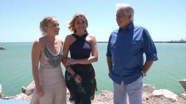 Angélica se encontra com Ellen Rocche e Francisco José em Fortaleza - Enquanto Angélica segue ao lado do jornalista, Ellen vai em mercado de peixe