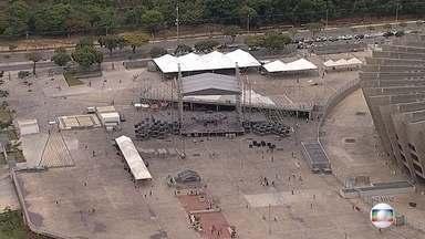 Preparativos do Show da Virada em BH são feitos na Esplanada do Mineirão - Gravação do programa será no dia 11 de novembro.