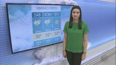 Veja a previsão do tempo para este sábado (11) na região de Ribeirão Preto - O dia já começa mais abafado, com mínima de 19°C em Batatais, SP, e também em Cássia dos Coqueiros, SP.