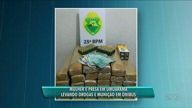Uma mulher foi preso com drogas e munição - A mulher estava em um ônibus que fazia a linha Duradouros em Mato Grosso do Sul para Londrina no Paraná