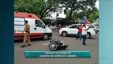 Uma mulher fica gravemente ferida em acidente - O acidente entre moto e caminhonete deixa uma pessoa gravemente ferida em Cianorte.