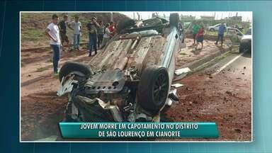 Três pessoas morrem em acidentes no fim de semana - Um dos acidentes foi em Cianorte. Um jovem morreu em um capotamento no distrito de São Lourenço.
