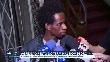 Ator que foi agredido por grupo de ladrões no Terminal Dom Pedro presta depoimento - Depoimento do ator Diogo Cintra durou cerca de seis horas.
