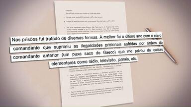 Cartas que teriam sido escritas por Bibinho, revelam privilégios que ele teria na prisão - As cartas são parte do processo contra o ex-diretor da AL e serviram como base para o pedido de prisão dele, na última sexta-feira.