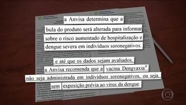 Quem nunca teve dengue não deve tomar vacina francesa, diz Anvisa - Na nota informativa, a Anvisa determina que a bula da vacina Dengvaxia seja alterada para informar sobre o risco aumentado de hospitalização e dengue severa em indivíduos soronegativos, aqueles que nunca tiveram dengue.