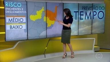 Previsão é de muita chuva na região central de Minas Gerais - Montes Claros tem quarenta milímetros de chuva previstos; é muita coisa para um dia só. Região de Porto Seguro pode ter muita chuva e Brasília também está nessa rota. Também pode chover bastante em São Paulo, no sul do Piauí e no norte do Amapá.