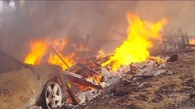 Incêndios florestais na Califórnia continuam se propagando - A área atingida pelas chamas há uma semana já é maior do que a cidade de Nova York. O fogo se aproxima da cidade de Santa Bárbara, cerca de 160 km ao norte de Los Angeles. Mais de 800 casas e prédios já foram destruídos.