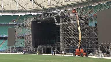 Arena Fonte Nova recebe últimos preparativos para o Festival de Verão Salvador 2017 - Evento acontece no próximo fim de semana e contará com grandes shows. Saiba qual é a ordem das apresentações.